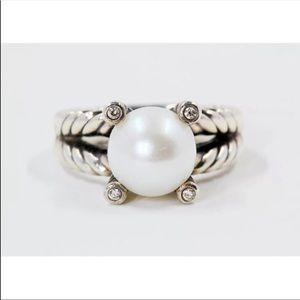 David Yurman 10mm Pearl Ring Sz 8